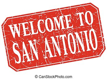 welcome to San Antonio red square grunge stamp