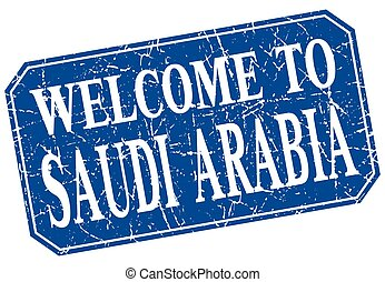 welcome to Saudi Arabia blue square grunge stamp