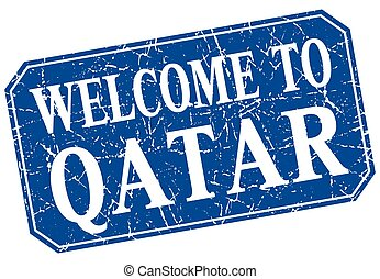 welcome to Qatar blue square grunge stamp