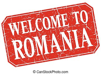 welcome to Romania red square grunge stamp