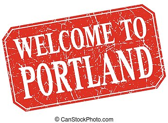 welcome to Portland red square grunge stamp