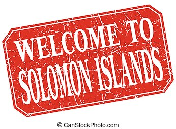 welcome to Solomon Islands red square grunge stamp