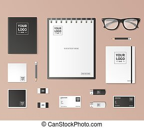 Mock up vector set - Corporate identity template set...