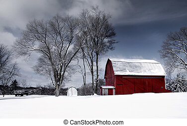Old red barn - Red old barn in the farm in winter time
