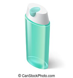 Shampoo Icon - Shampoo Blue Icon in Isometric Style on White