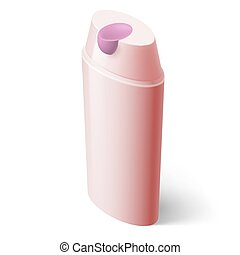 Shampoo Icon - Shampoo Pink Icon in Isometric Style on White
