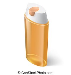 Shampoo Icon - Shampoo Yellow Icon in Isometric Style on...