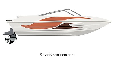Red small motorboat - Small motorboat on white background