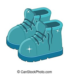 Clean blue boots on a white background