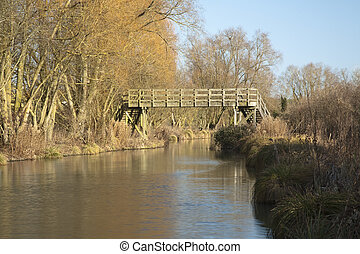 Wooden footbridge over the Kennet and Avon Canal near...