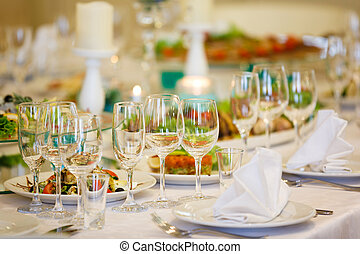 The banquet table in restaurant