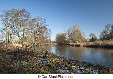 River Kennet at Padworth near Reading in Berkshire, Uk on a...