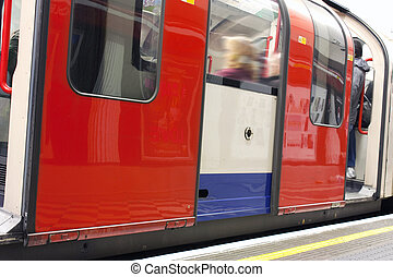 london underground train - close up on a carriage of a...