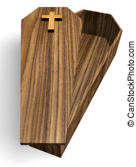 Coffin - Open Wooden coffin isolated over white. 3d render.