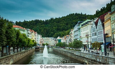 Karlovy Vary, Czech city view from bridge