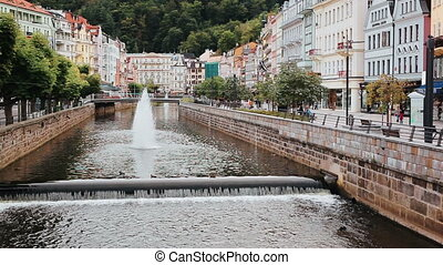 Karlovy Vary Czech city view from bridge