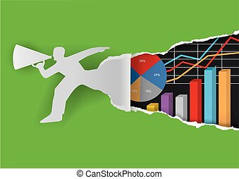 Annual report background - Paper male silhouette ripping...