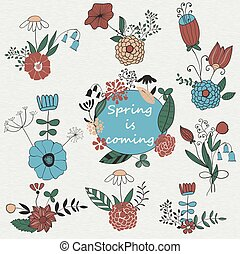 Vector Set of Spring Bouquets