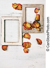 Wooden photo frames with dry roses - Two vintage wooden...