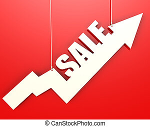 White arrow with sale word hang on red background