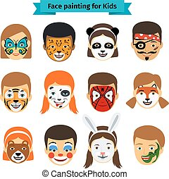 Kids faces with painting - Face painting icons. Kids faces...