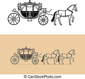 carruaje, silueta, con, caballo,
