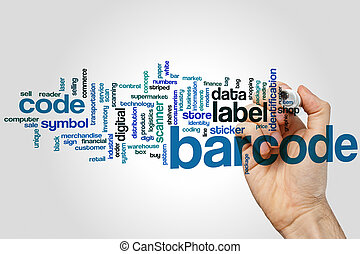 Barcode word cloud concept with label retail related tags