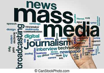Mass media word cloud concept with journalism news related...