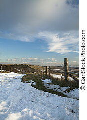 Looking towards Walbury Hill, Berkshire's high point, from a snow covered Wayfarers path close to Coombe Gibbet, Uk