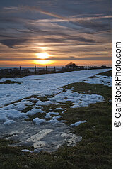Winter sunset on the Berkshire Downs on the Wayfarers path close to Coombe Gibbet, Uk