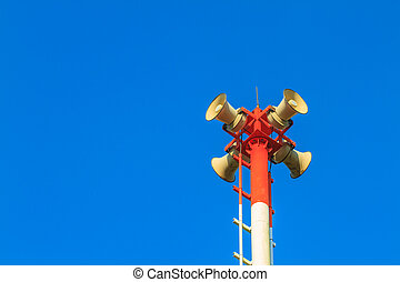 Tsunami siren warning loudspeakers are installed on the...