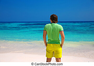 thinking,green,man,guy,blue,sky,tropical,exotic,free,freedom,arm,reflection,life,hand,joy,sea,people,person,beach,human,background,ocean,health,success,successful,male,outdoor,fun,sun,winner,alone,vacation,natural,happiness,stand,active,summer,outside,excitement,beauty,nature,happy,travel,seascape,seaside,bliss,businessman,thailand,maldives,dream,