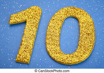 Number ten yellow color over a blue background. Anniversary