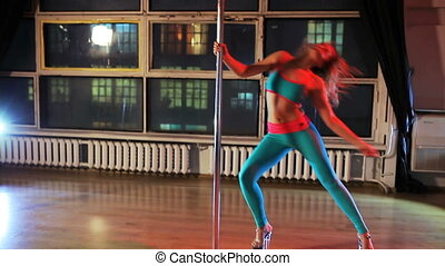 Young woman pole dance - Young sexy woman pole dance