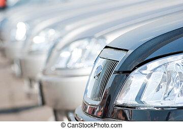 Car Dealership - A shiny row of cars.