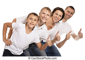 Happy family of four showing thumbs up on white background