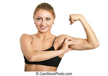 sporty, mulher, é, measuring, ,