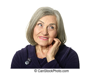 smiling elderly woman - Portrait of smiling elderly woman on...