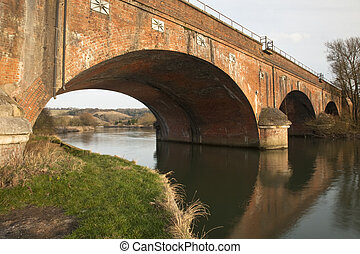 Viaduct over the River Thames near Goring, Oxfordshire, Uk...