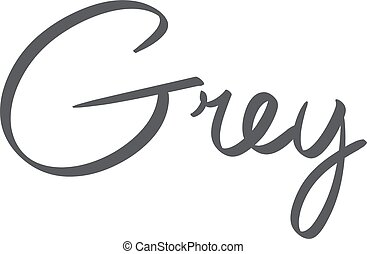 hand-written name of the color grey art