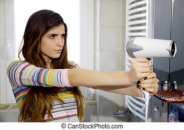 Cool strong woman pointing blow dryer like gun - Woman like...