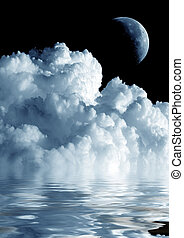 Moon and cloud - Crescent Moon and white fluffy cloud on...