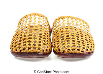 Rubber slippers isolated on white background