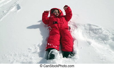 child falling in the snow