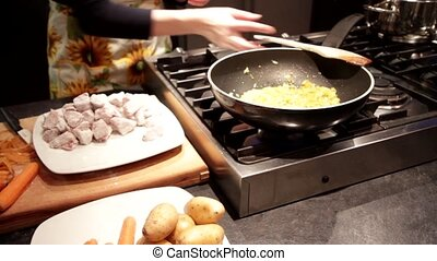 Stew meat preparation with potatoes