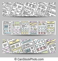 Website Layout banner - Hand drawn website layout on three...