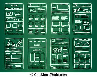 Website Layout Doodles - Hand drawn website layouts on green...