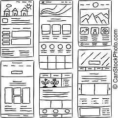 Website Layout Doodles - Hand drawn website layouts doodle...