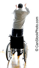 person standing with the wheelchair - young person standing...