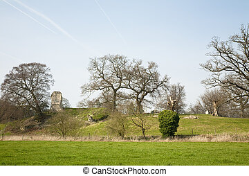 Remains of Wallingford Castle fom the Thames Path,...